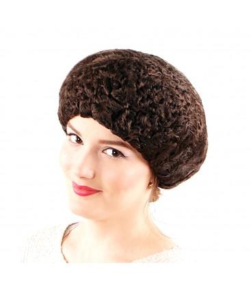 0685 Женская меховая шапка из каракуля коричневая