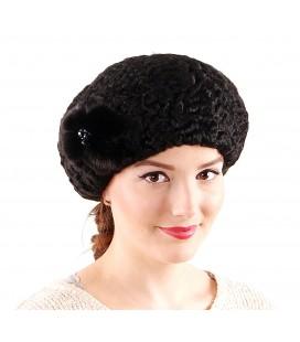 1902 Женская меховая шапка из каракуля черная