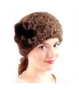 0689 Женская меховая шапка из каракуля