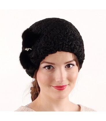 0690 Женская меховая шапка из каракуля
