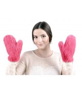 2215 Варежки из вязаной норки стрейч розовые