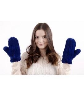 2219 Варежки из вязаной норки стрейч синие