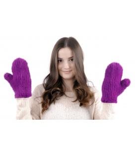 2220 Варежки из вязаной норки стрейч фиолетовые