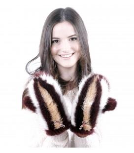 Варежки из вязаной норки
