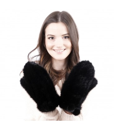 Варежки из вязаной норки черные