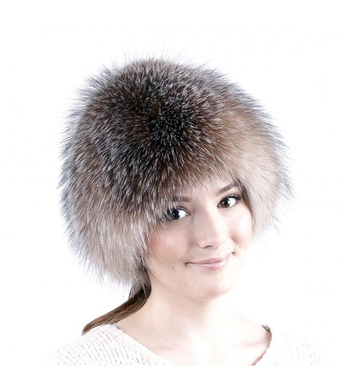 женская меховая шапка из рыжей лисы чернобурки кошечка купить в