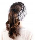 1637 Вязаная повязка на голову из кролика
