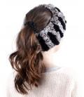 1638 Вязаная повязка на голову из кролика