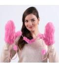 2204 Меховые варежки из вязаной норки розовые