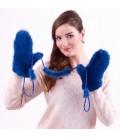 2205 Варежки из вязаной норки синие.