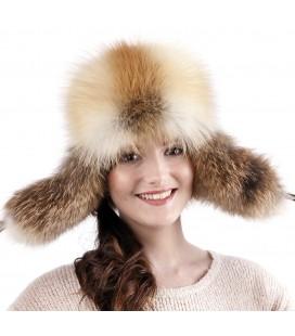 1529 Женская меховая шапка-ушанка из лисы.