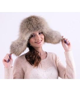 1530 Женская меховая шапка-ушанка из степной лисы.