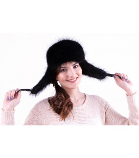 1531 Женская меховая шапка-ушанка из бобра.