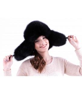 Женская меховая шапка-ушанка