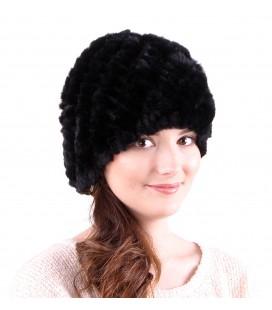 0922 Женская меховая шапка из вязаного кролика