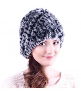 0923 Женская меховая шапка из вязаного кролика.