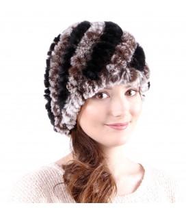 0925 Женская меховая шапка из вязаного кролика.