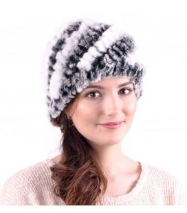 0926 Женская меховая шапка из вязаного кролика