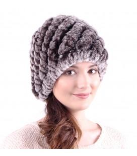 0927 Женская меховая шапка из вязаного кролика