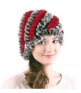 0928 Женская меховая шапка из вязаного кролика