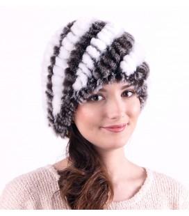 0929 Женская меховая шапка из вязаного кролика