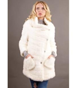 0324 Куртка-косоворотка из вязаной норки белая.