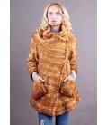 0325 Куртка-косоворотка из вязаной норки рыжая.
