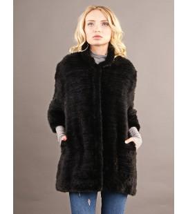 0312 Куртка из вязаной норки 90 см черная.