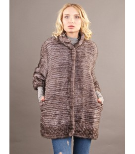 0313 Куртка из вязаной норки 90 см графит.