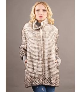 0314 Куртка из вязаной норки 90 см серебро.