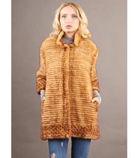 0315 Куртка из вязаной норки 90 см рыжая.