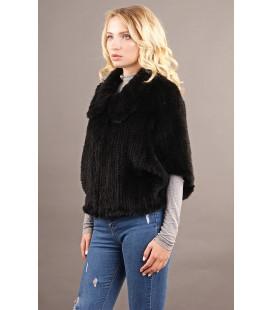 0308 Куртка из вязаной норки 60 см черная.