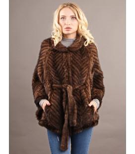 0326 Куртка-пончо из вязаной норки 80 см орех.