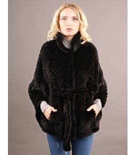 0327 Куртка-пончо из вязаной норки 80 см черная.
