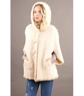 0316 Куртка из вязаной норки 80 см белая.