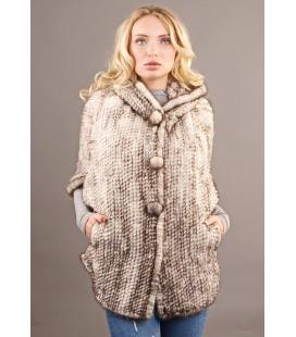 0317 Куртка из вязаной норки 80 см серебро.