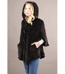 0318 Куртка из вязаной норки 80 см черная.