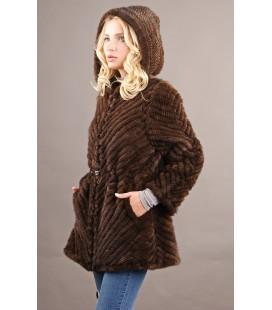 0319 Куртка из вязаной норки поперечная 80 см.