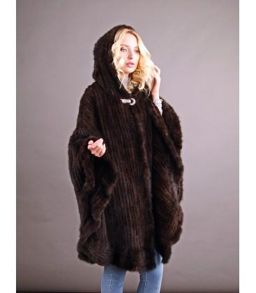 Пончо из вязаной норки c капюшоном 100 см махагон.
