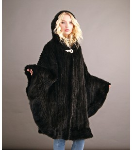 Пончо из вязаной норки c капюшоном 100 см черное