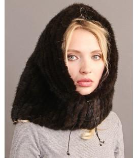 Женский меховой капор из вязаной норки