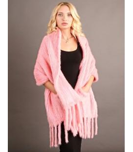 0734 Палантин из вязаной норки 60 см розовый