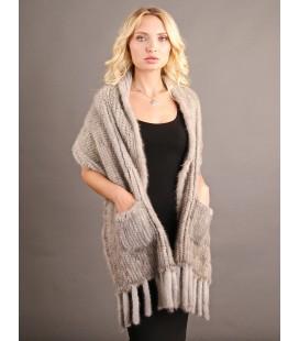 0713 Палантин из вязаной норки 40 см светло-серый.