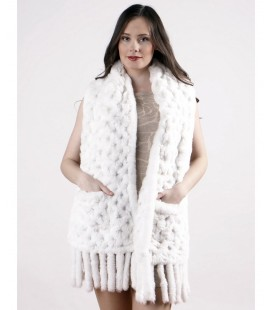 Палантин из вязаного кролика 40 см белый