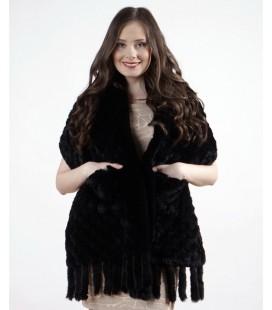 Палантин из вязаного кролика 40 см черный