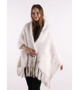 0742 Палантин из вязаной норки 60 см белый