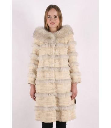 0403 Пальто из стриженного кролика с отделкой из песца