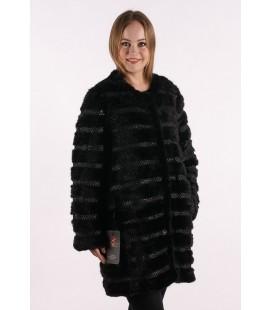 0335 Куртка из вязаной норки черная