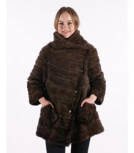 0321 Куртка-косоворотка из вязаной норки
