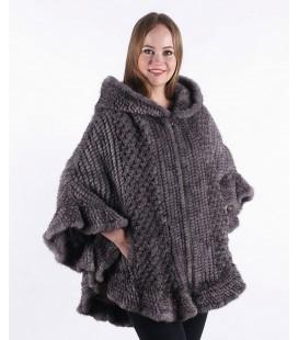 0332 Куртка-накидка из вязаной норки с капюшоном